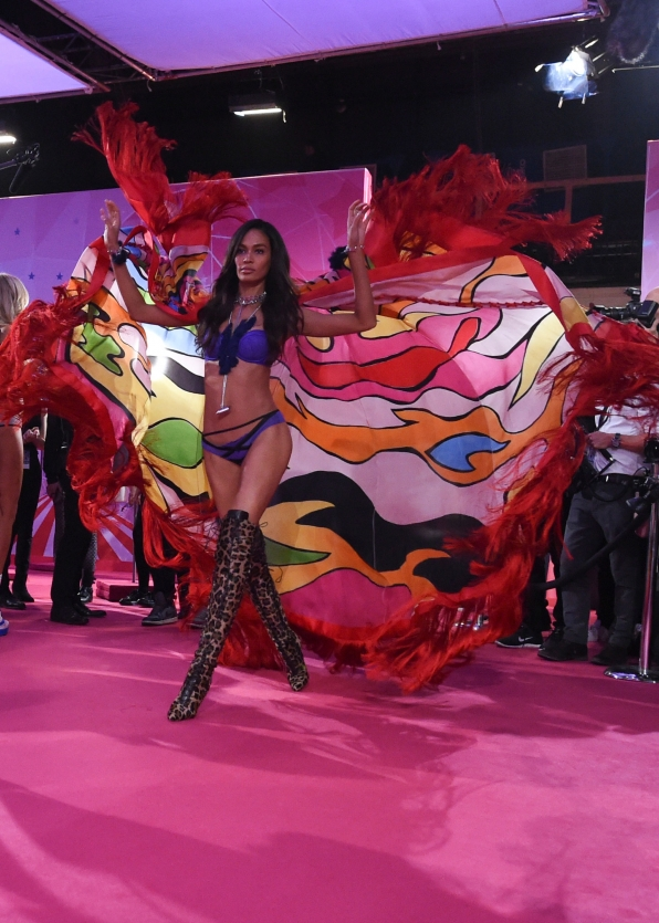 Joan Smalls perfects her walk before hitting the VS runway