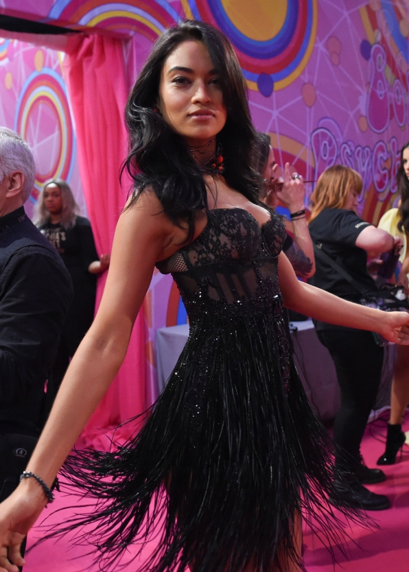 Shanina Shalk gives us a twirl before hitting the VS runway