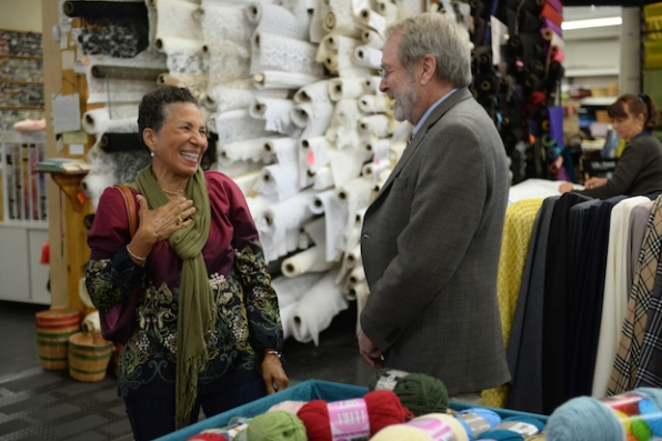 Gary makes a woman in the craft store smile.