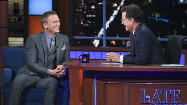 Daniel Craig and Stephen Colbert
