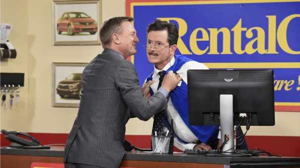 Daniel Craig and Stephen Colbert