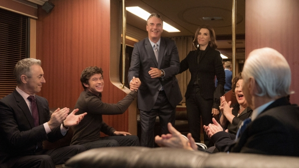 Alan Cumming as Eli Gold, Graham Phillips as Zach Florrick, Chris Noth as Peter Florrick, Julianna Margulies as Alicia Florrick, and Margo Martindale as Ruth Eastman