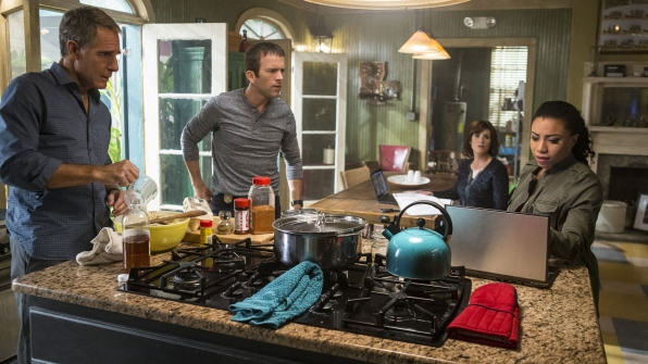 Scott Bakula as Dwayne Pride, Lucas Black as Christopher LaSalle, Zoe McLellan as Meredith Brody, and Shalita Grant as Sonja Percy
