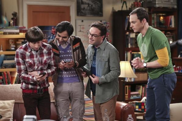 Howard, Raj, Leonard, and Sheldon anxiously wait for Star Wars tickets to go on sale.