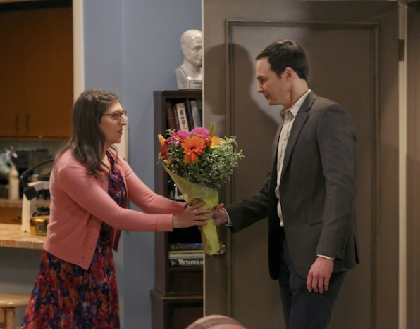 Sheldon brings Amy flowers for her birthday.