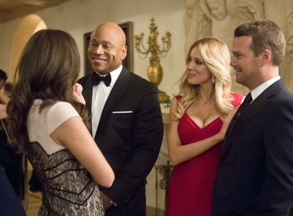 "LL COOL J as Sam Hanna, Bar Paly as Anastasia ""Anna"" Kolcheck, and Chris O'Donnell as G. Callen"