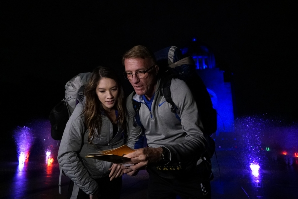 Blair and her father, Scott, read their first clue.