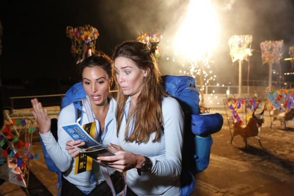 After Detour B, Jessica and Brittany read the clue toward the Roadblock.