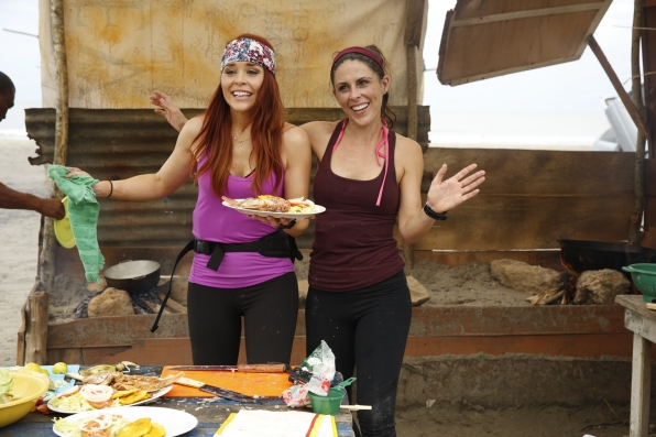 Erin and Joslyn are all smiles as they complete their meal.