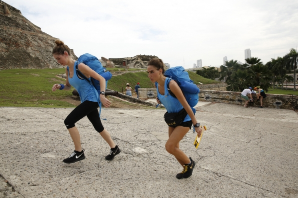 Jessica and Brittany feel the burn as they head to the Detour Decision Point in Colombia.