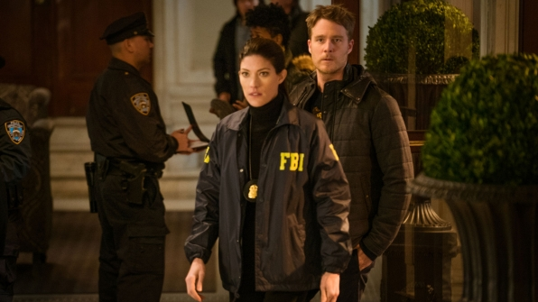 Jennifer Carpenter as Agent Rebecca Harris and Jake McDorman as Brian Finch