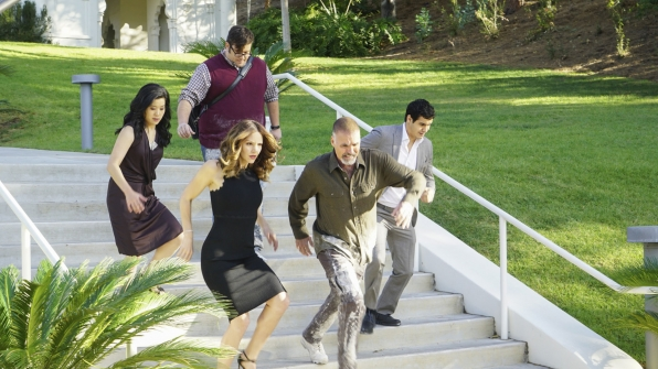Jadyn Wong as Happy Quinn, Sylvester Dodd as Ari Stidham, Katharine McPhee as Paige Dineen, Jeff Fahey as Kenneth Dodd, and Elyes Gabel as Walter O'Brien