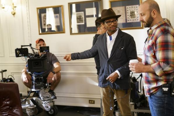 Director Rob Greenlea works his set magic with the cameramen.