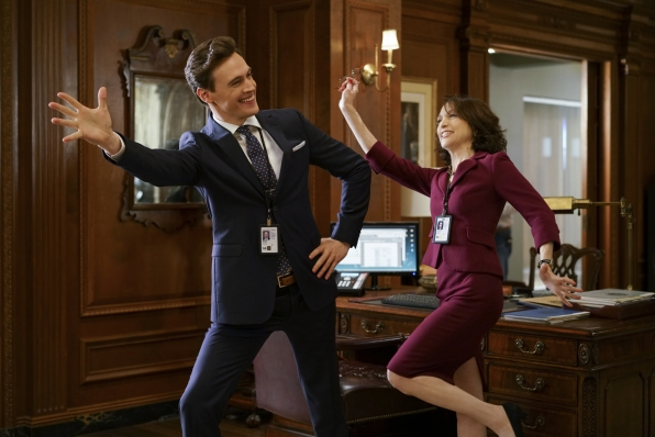 Erich Bergen and Bebe Neuwirth get into character.