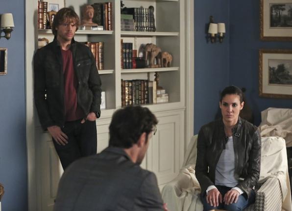 Eric Christian Olsen as Marty Deeks, Matthew Del Negro as Jack Simon, and Daniela Ruah as Kensi Blye
