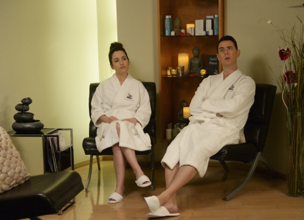 Jen and Greg chill out before a couples massage.