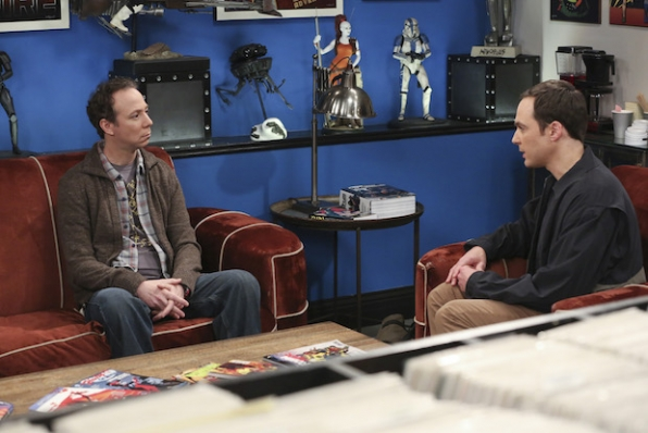 Sheldon sits down to chat with Stuart.
