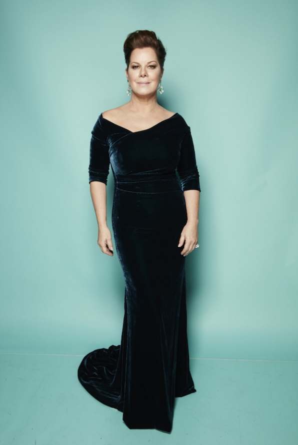 Marcia Gay Harden is va-va-voom in a velvet column gown