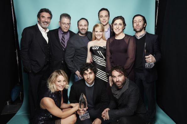 The cast of The Big Bang Theory pose pretty after their win