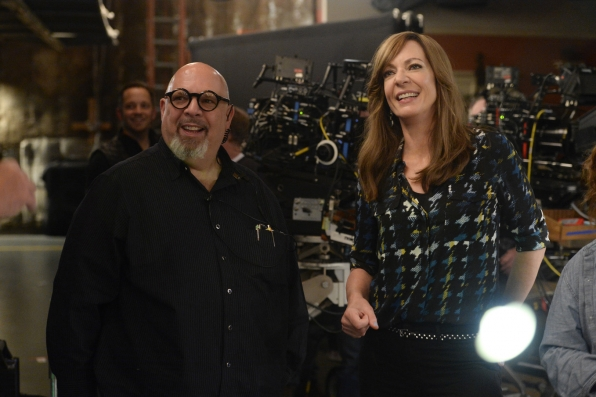Allison Janney and writer/producer Eddie Gorodetsky smile at Mom's more light-hearted moments.