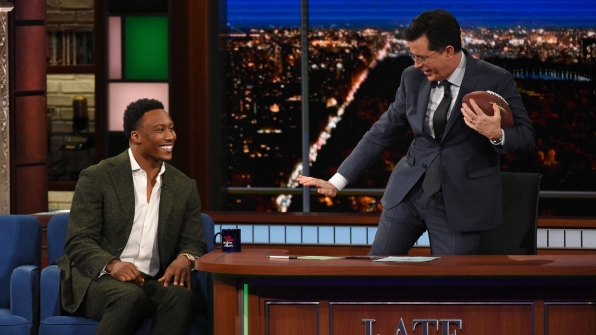 Brandon Marshall and Stephen Colbert