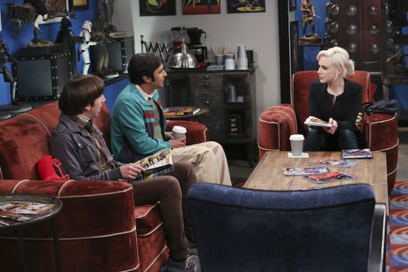 Howard and Raj chat with Claire, who they met at the comic-book store.