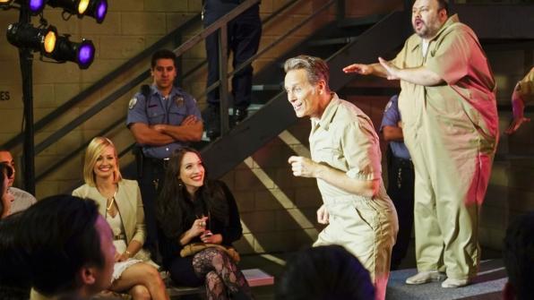 Caroline's father has a solo in the prison musical.