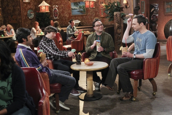 Sheldon lets loose during their guys night out.