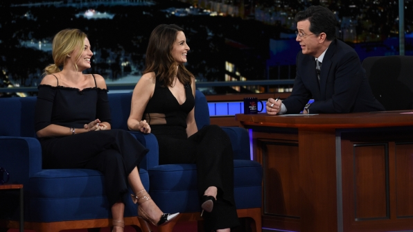 Tina Fey, Margot Robbie, and Stephen Colbert