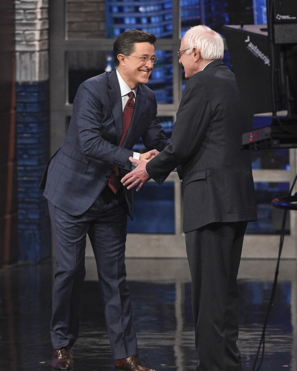 Bernie Sanders and Stephen Colbert