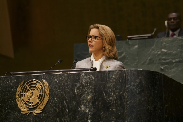 Bess addresses the United Nations.