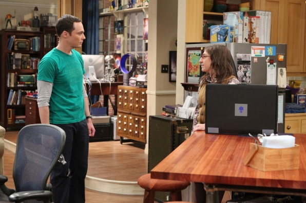 Sheldon looks to support from Amy after his computer crashes.