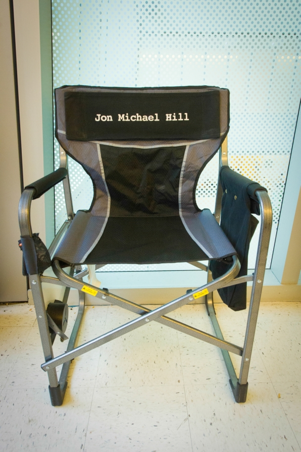 Jon Michael Hill's chair on set