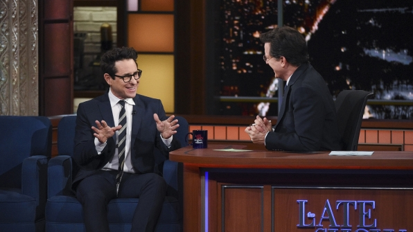 J.J. Abrams and Stephen Colbert