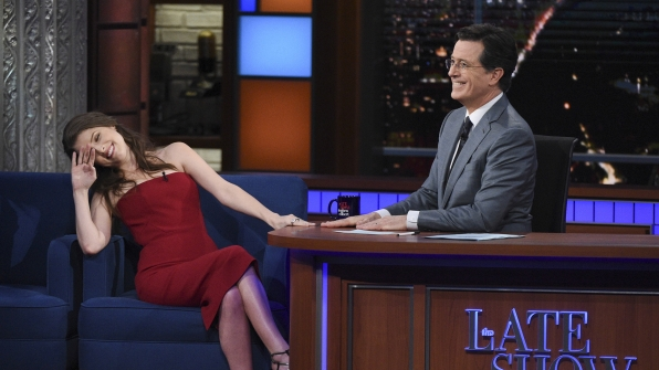 Anna Kendrick and Stephen Colbert