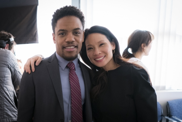 Jon Michael Hill poses with his castmate—and boss for the week!