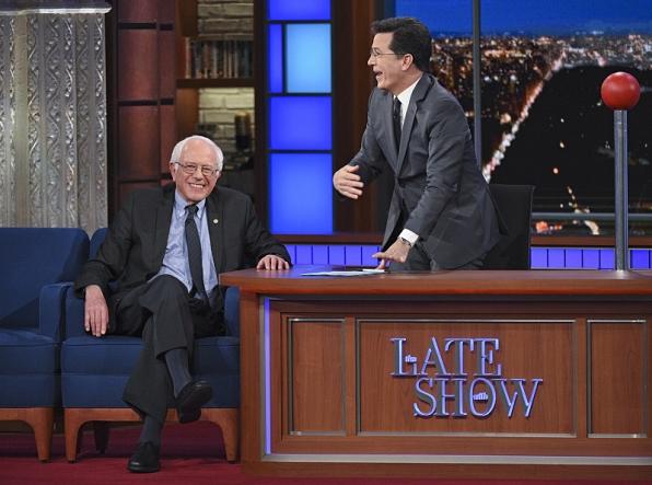 Senator Bernie Sanders and Stephen Colbert