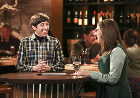 Amy and Howard have a good laugh at the wine bar.