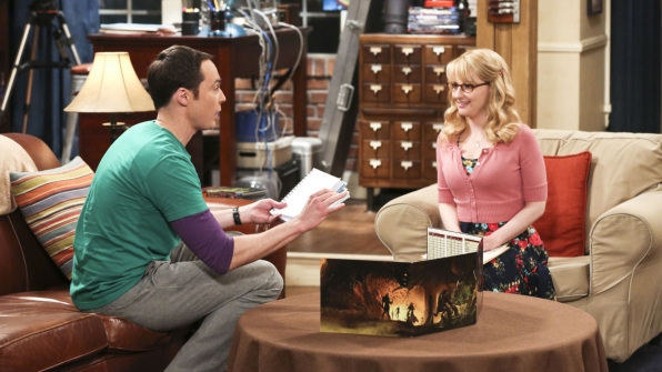 Bernadette and Sheldon play a game together.