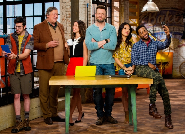 Clark (Christopher Mintz-Plasse), Roland (Stephen Fry), Brooke (Susannah Fielding), Jack (Joel McHale), Emma (Christine Ko), and Mason (Shaun Brown) in The Great Indoors