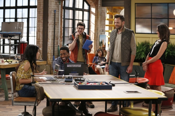 Emma (Christine Ko), Mason (Shaun Brown), Clark (Christopher Mintz-Plasse), Jack (Joel McHale), and Brooke (Susannah Fielding) in The Great Indoors