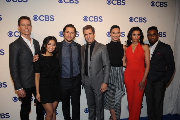 Ward Horton, Brenda Song, Augustus Prew, Dermot Mulroney, Odette Annable, Reshma Shetty, and Aaron Jennings from Pure Genius