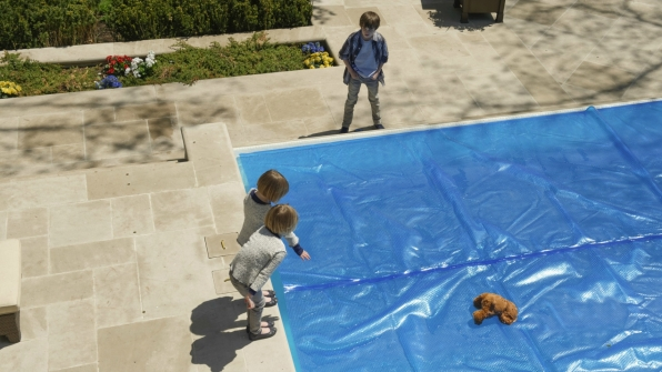The twins discuss how to retrieve their bear.