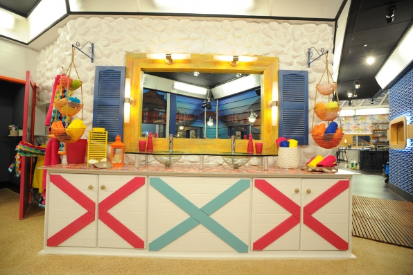 Life's a beach in the Big Brother bathroom.