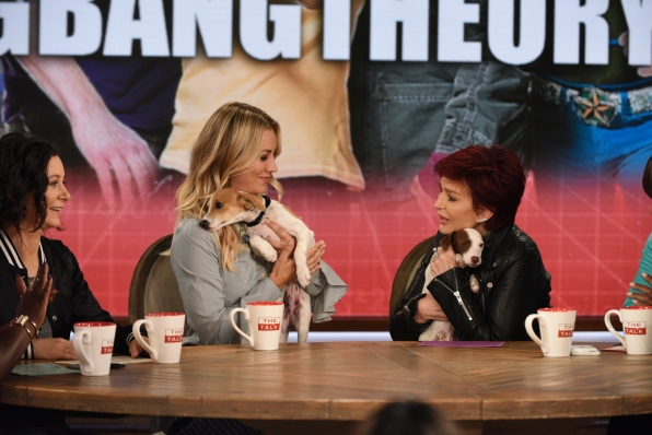 Kaley Cuoco showed off some puppies on The Talk.