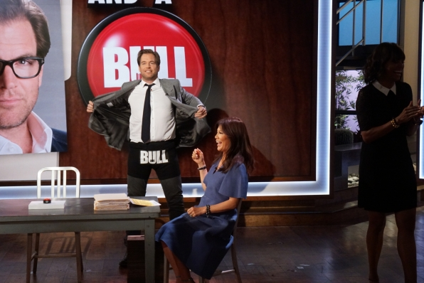 Bull star Michael Weatherly stripped down on The Talk.