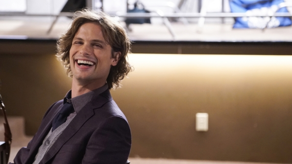 Matthew Gray Gubler is all smiles while filming this Reid-centric episode.