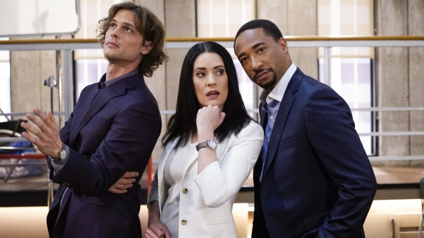 Matthew Gray Gubler, Paget Brewster, and Damon Gupton strike a pose on set.