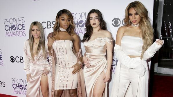 The ladies of Fifth Harmony posed on the carpet before hitting the stage to perform.