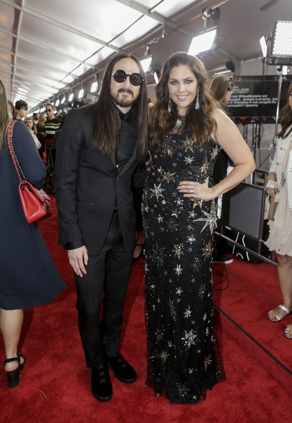 GRAMMYs 2017: Steve Aoki and Hillary Scott (Lady Antebellum)